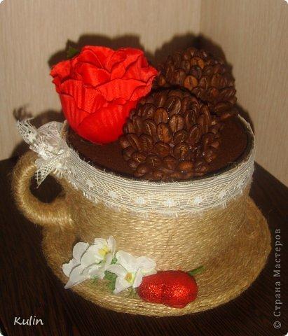 """кофейная чашка """"Валентинка"""", а раз Валентинка, значит и сердечко присутствует, а раз сердце, то как без роз??? фото 2"""