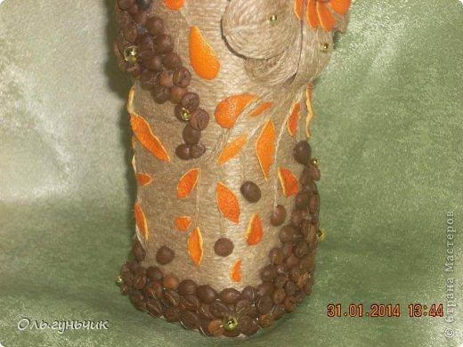 А это опять я!!! за один день сотворилась у меня такая вот бутылочка...очень понравилось мне вырезать шкурки мандарина, поэтому бутылочка у меня вышла кофейно-мандариновая)))) фото 12