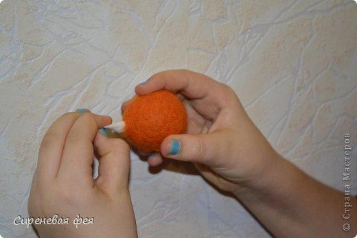 Игрушка Мастер-класс 8 марта Валентинов день День рождения Валяние фильцевание Кот Сердечный апельсин МК Пластика Шерсть фото 8