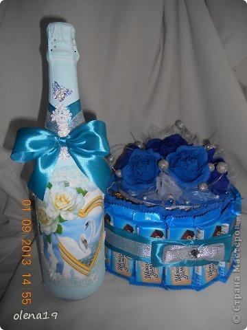 Набор для друзей к годовщине свадьбы.  Бутылочку не показывала, а тортик здесь https://stranamasterov.ru/node/625590. фото 1