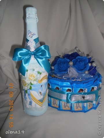 Набор для друзей к годовщине свадьбы.  Бутылочку не показывала, а тортик здесь https://stranamasterov.ru/node/625590. фото 5