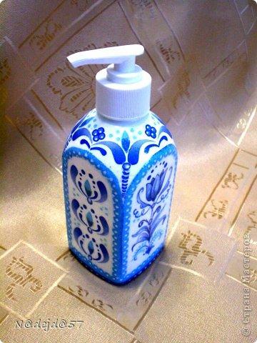 Вот новые работы делала себе в Ванную комнату.  Здесь дозатор для жид. мыла, соль для ванны и терочка для пяточек. Здесь мои первые работы для ванной https://stranamasterov.ru/node/705458. фото 3