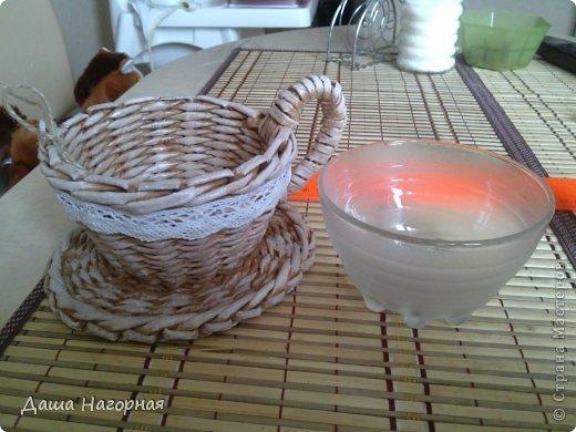 Мастер-класс Поделка изделие Плетение МК чашки Бумага газетная Трубочки бумажные фото 3