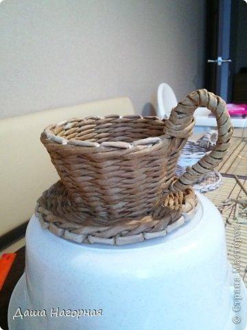Мастер-класс Поделка изделие Плетение МК чашки Бумага газетная Трубочки бумажные фото 30