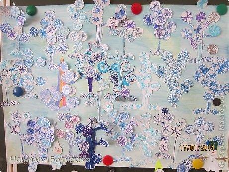 Зимний сказочный лес из снежинок фото 1