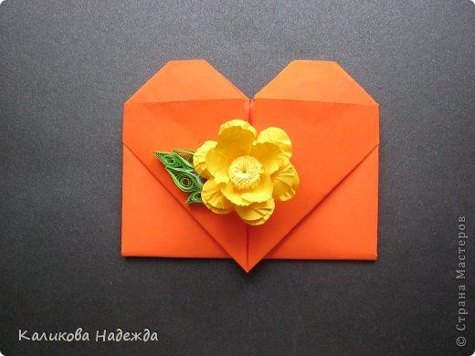 Мастер-класс Открытка Валентинов день Оригами Письмецо в конверте погоди не рви Бумага фото 26