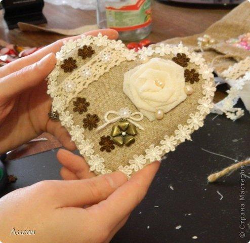 Мастер-класс Поделка изделие Валентинов день Шитьё Валентинка магнит Тесьма шнур Ткань фото 16