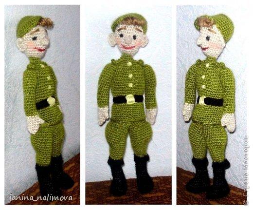 Куклы Мастер-класс 23 февраля Вязание крючком Солдат новобранец Описание вязания Пряжа фото 1