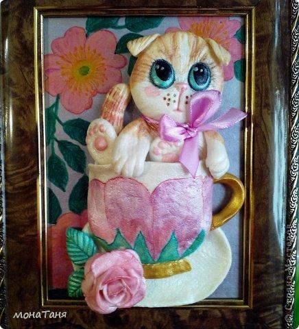 """Здравствуйте!!! Я к Вам с очередным """"чашечным котенком"""". Лепила из ХФ  по рисунку для вышивки из интернета. фото 1"""