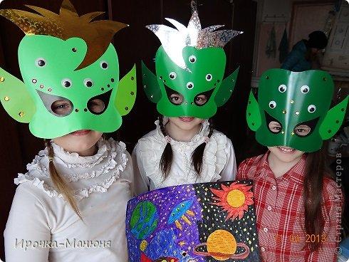 Ох уж, эти школьные мероприятия! Понадобились срочно маски пришельцев ко Дню космонавтики. фото 12