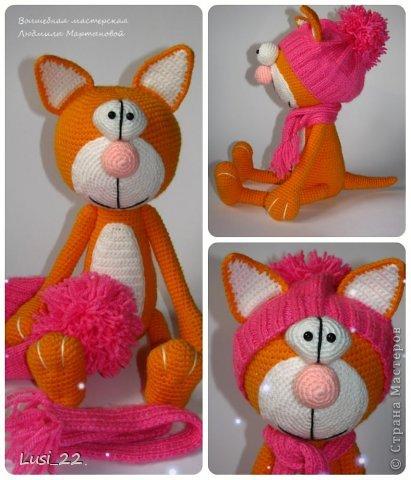 Парочка котиков, связанных по описанию Елены Гюнгер (рождественский кот). фото 8