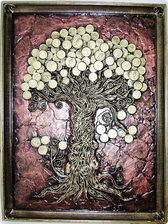 Картина панно рисунок Папье-маше Дерево богатства Пейп-арт Салфетки фото 2