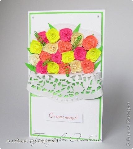 """Открытки с розами """"От всего сердца"""", """" с днём рождения Мамочке!"""", """"С праздником!"""" Яркие насыщенные розы. Решила сделать такие разноцветные букетики! Я эти розочки уже полюбила! фото 1"""