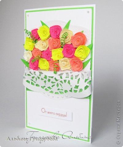 """Открытки с розами """"От всего сердца"""", """" с днём рождения Мамочке!"""", """"С праздником!"""" Яркие насыщенные розы. Решила сделать такие разноцветные букетики! Я эти розочки уже полюбила! фото 3"""