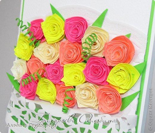 """Открытки с розами """"От всего сердца"""", """" с днём рождения Мамочке!"""", """"С праздником!"""" Яркие насыщенные розы. Решила сделать такие разноцветные букетики! Я эти розочки уже полюбила! фото 2"""