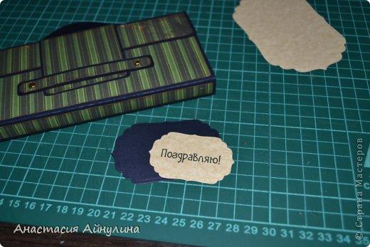 Мастер-класс Скрапбукинг 23 февраля День рождения Аппликация Мужской чемоданчик МК фото 21