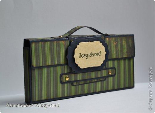 Мастер-класс Скрапбукинг 23 февраля День рождения Аппликация Мужской чемоданчик МК фото 1