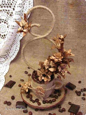 Флористика искусственная 8 марта Моделирование конструирование Ароматная чашечка кофе для поднятия настроения Бумага Клей Кофе Проволока Шпагат фото 1