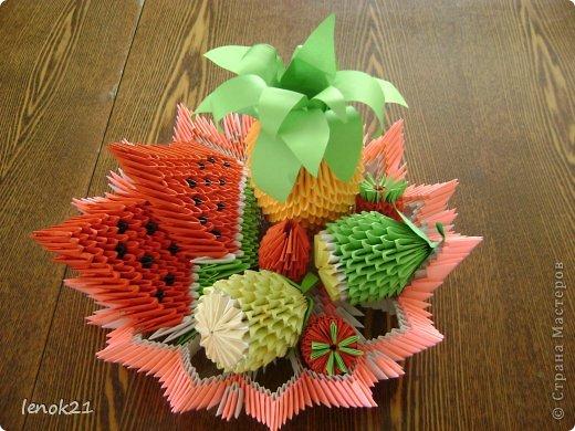 Оригами из модулей тарелка