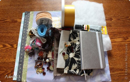Мастер-класс Скрапбукинг Блокноты в мягкой обложке Бусинки Ленты Ткань фото 2