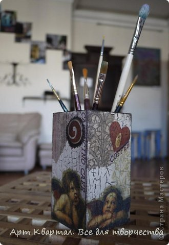 Пошаговый фото мастер-класс для декора стаканчика, например для кистей. фото 1