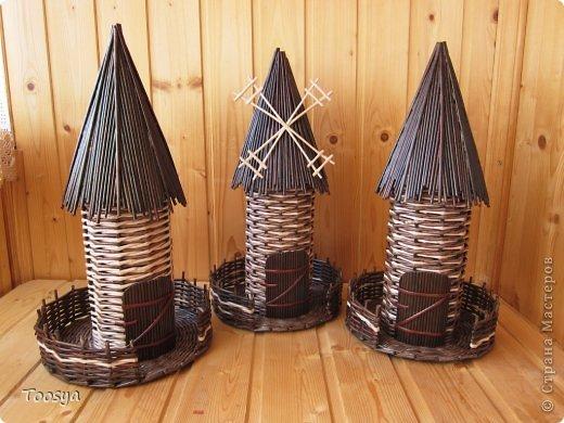 Плетение из газетных трубочек мельницы