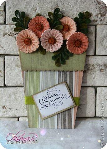 Открытка 8 марта Квиллинг Цветы в горшках + шаблон Бумага
