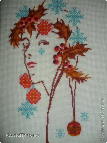 Вышивка Девушка -зима
