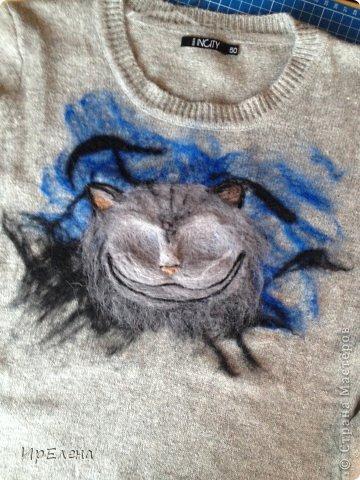 Валяный рисунок на вязаной кофте фото 5