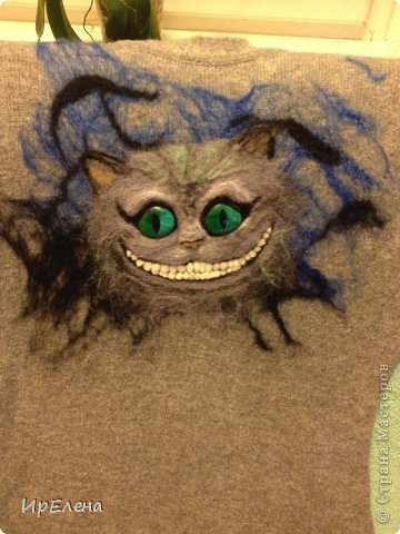Валяный рисунок на вязаной кофте фото 6