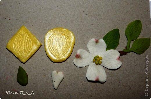 Сегодня я вам покажу, как сделать цветущий кизил, не тот, что цветет в некоторых  садах бывшего постсоветского пространства,  а калифорнийский (Flowering Dogwood (Córnus Flòrida)). Давно на него заглядывалась, и сначала в попытке работы с соленым тестом сделала птичек на кизиле по известной картинке  Каролин Shores Райт. И вот руки дошли и до букетных цветов.Но обо всем по порядку. фото 24