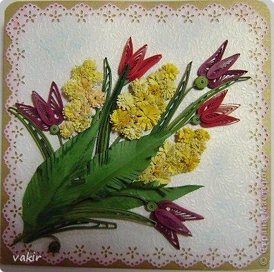 """Здравствуйте, дорогие соседи и гости замечательной Страны Мастеров! Страны, где царят мир, спокойствие, доброжелательность, толерантность не зависимо от взглядов и убеждений. Приближается замечательный праздник, который мы олицетворяем с весной. Дорогие женщины: мамочки и бабушки, дочечки и сестрички, коллеги и подружки, с Праздником вас! С женским днем, с весной! Пусть в ваших сердцах расцветает весна, радость, любовь! А у меня насобиралось немного открыток и обложек. Приглашаю на просмотр!  Открытка-стойка. Я ее назвала """"Сиреневая дама"""", предназначена женщине бальзаковского возраста на день рождения. фото 4"""
