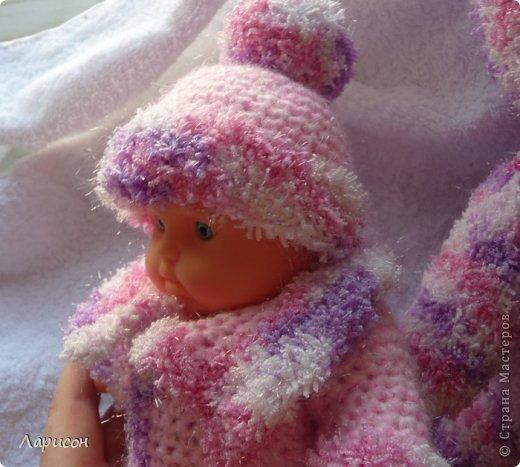 Для крестницы Ксении связала мышонка и купленному пупсику одёжку потеплее, ведь дело было в середине января... фото 2