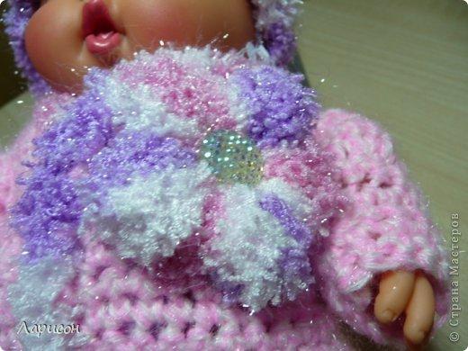 Для крестницы Ксении связала мышонка и купленному пупсику одёжку потеплее, ведь дело было в середине января... фото 6