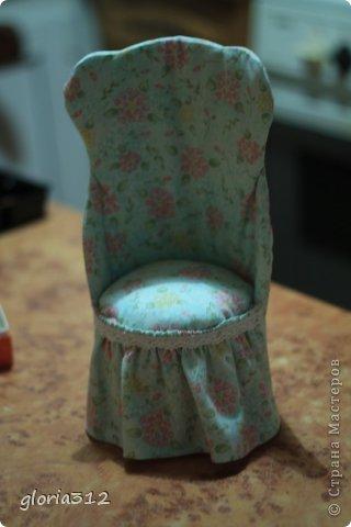 Кукольная жизнь Мастер-класс 8 марта Моделирование конструирование Кресло в стиле Шебби-шик  Картон Кружево Поролон Ткань фото 17