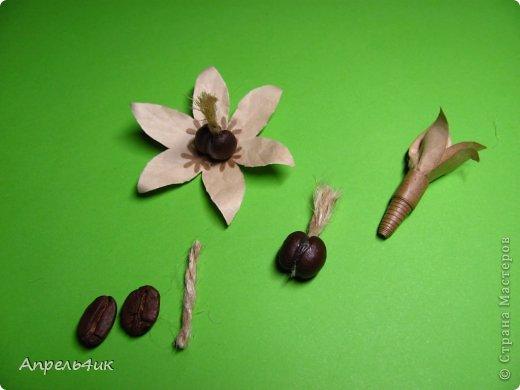 Обещала рассказать, как я делала цветочки для кофейной чашки https://stranamasterov.ru/node/733719. Вот сегодня наконец то сфотографировала процесс. Для изготовления такого цветка, нам понадобится: - акварельная бумага  - оберточная коричневая бумага - зерна кофе - проволока - шпагат - клей ПВА - горячий пистолет фото 9