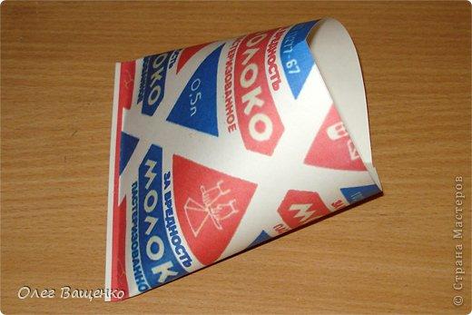 """В блоге Мастерицы annalita https://stranamasterov.ru/user/164763 встретил упаковку в виде пакета молока: https://stranamasterov.ru/node/590905 """"Молоко за вредность"""". Идея очень понравилась, и я решил сделать свой вариант упаковки, но технологически ближе к тому, как изготавливались """"пирамидки"""" на молокозаводах. фото 5"""