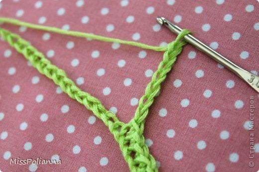 Закладка Мастер-класс Начало учебного года Вязание крючком Вязаная закладка-цветок тюльпан Нитки фото 4