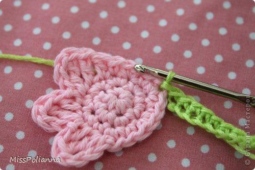 Закладка Мастер-класс Начало учебного года Вязание крючком Вязаная закладка-цветок тюльпан Нитки фото 7