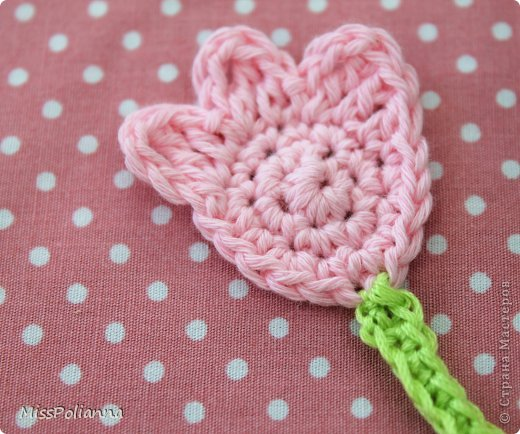 Закладка Мастер-класс Начало учебного года Вязание крючком Вязаная закладка-цветок тюльпан Нитки фото 8