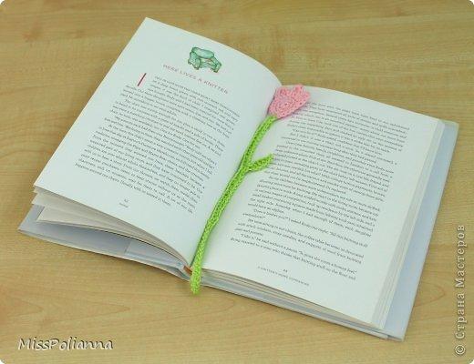 Закладка Мастер-класс Начало учебного года Вязание крючком Вязаная закладка-цветок тюльпан Нитки фото 1