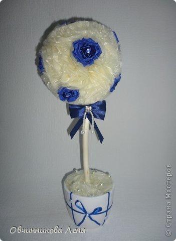 Здравствуйте дорогие жители страны!!! сегодня я Вам покажу работы, которые я сделала за последнюю неделю... Вот такой топиарий с синими розами канзаши.