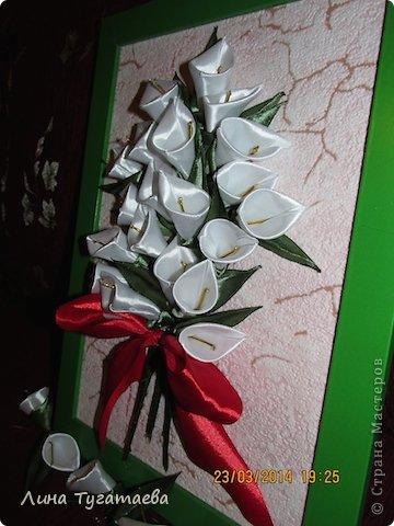 Картина панно рисунок Цумами Канзаши белые каллы Ленты фото 2.