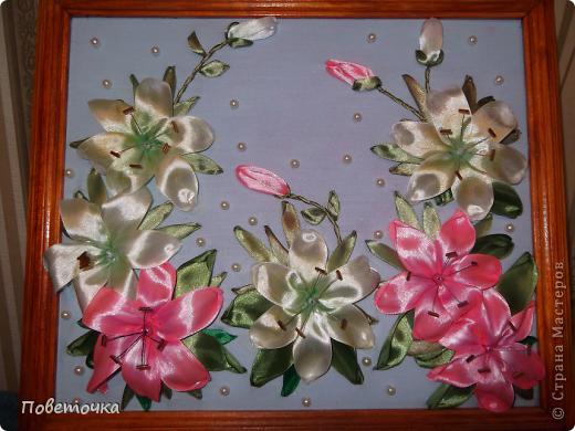 Картина панно рисунок 8 марта Вышивка Цумами Канзаши Картины к восьмому Марта Ленты фото 6.