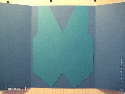 Поздравительная открытка. Плотность бумаги для пиджака 270 гр. Плотность бумаги для безрукавки 130 гр. Плотность бумаги для рубашки можно от 80 до 130 гр. ( у меня 80 гр.) фото 17