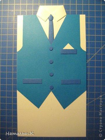 Поздравительная открытка. Плотность бумаги для пиджака 270 гр. Плотность бумаги для безрукавки 130 гр. Плотность бумаги для рубашки можно от 80 до 130 гр. ( у меня 80 гр.) фото 29