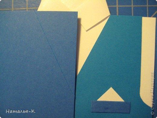 Поздравительная открытка. Плотность бумаги для пиджака 270 гр. Плотность бумаги для безрукавки 130 гр. Плотность бумаги для рубашки можно от 80 до 130 гр. ( у меня 80 гр.) фото 32
