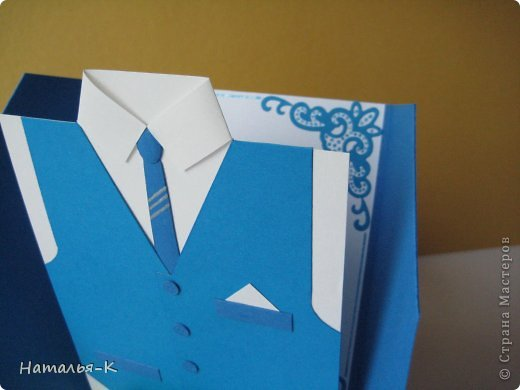 Поздравительная открытка. Плотность бумаги для пиджака 270 гр. Плотность бумаги для безрукавки 130 гр. Плотность бумаги для рубашки можно от 80 до 130 гр. ( у меня 80 гр.) фото 4