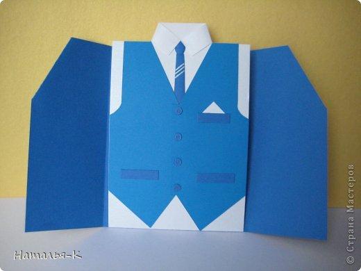 Поздравительная открытка. Плотность бумаги для пиджака 270 гр. Плотность бумаги для безрукавки 130 гр. Плотность бумаги для рубашки можно от 80 до 130 гр. ( у меня 80 гр.) фото 3