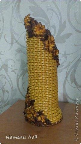 Мастер-класс Поделка изделие Плетение МК бутылочницы с цветочками Трубочки бумажные фото 2